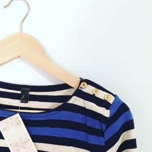 J. Crew authentic stripe blouse fitted gold button